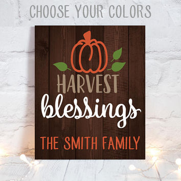 HARVEST BLESSINGS - Thanksgiving Wood Sign -Wood Quote Sign-Farmhouse Fall Sign-Family Name Wall Art-Personalized Home Decor-Canvas or Print