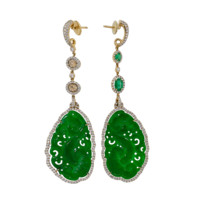 Carved Green Jade Earrings | Marissa Collections