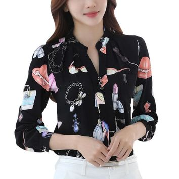 2017 Autumn Women's Blouses Mandarin Collar Cartoon Pattern Fashion Women Blouse Sweet Flowers Women Shirt