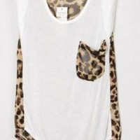 Leopard Patchwork Sleeveless White or Pink Chiffon Blouse