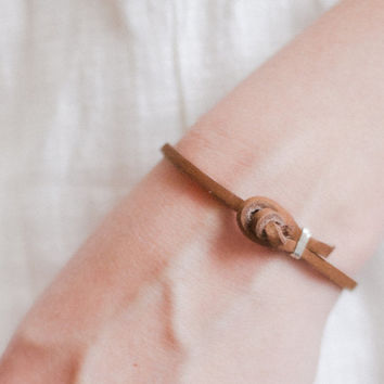 Simple leather wrap bracelet in tan, knot closure, gold or sterling silver / minimalistic, men or women, re-purposed leather
