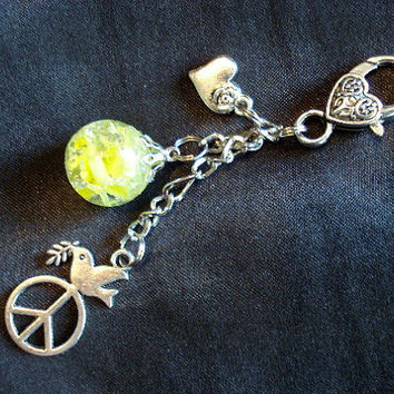 Peace Dove Fried Marble Heart Charm Yellow Keychain by KatieDidsx3