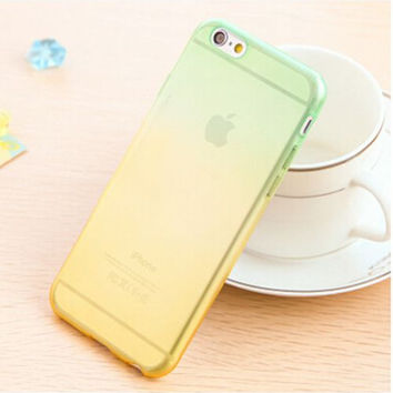 Green and Yellow Candy Color Gradient Soft TPU Clear Transparent Phone Protector Case Cover Shell For iPhone 4 4S 5 5S SE 6 6S 6 Plus 6S Plus