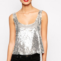 Sequined Sleeveless Tank Top