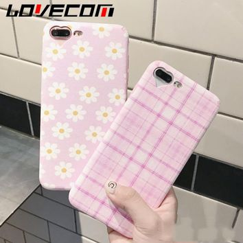 LOVECOM For iPhone 6 6S 7 8 Plus Phone Case Fashion Daisy Flowers Geometry Pattern Soft Silk Phone Back Cover Cases Shell Fundas