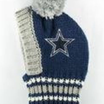NFL Licensed Dallas Cowboys Knit Pet Pom Beanie Hat (Small up to 20lbs)