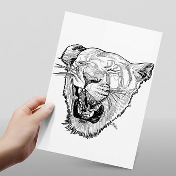 lioness head line drawing // black and white // abstract lion // print // home decor// A4 size // glossy paper print