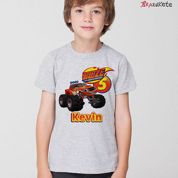 Blaze and The Monster Machines Personalized Print T-Shirt Screen Print Children Kids Cartoon Birthday Gift for Boys