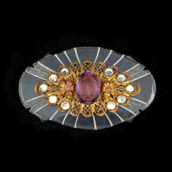 Big Brooch - Vintage 1930s Art Deco Lucite Brooch with Amethyst Glass Stone, Brass Filigree & Rhinestones, Early Plastic Jewelry