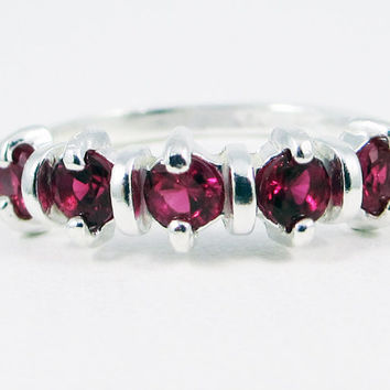 Ruby Wedding Band, 925 Sterling Silver, July Birthstone Ring, Wedding Jewelry, Engagement Ring, Ruby Wedding Band, 925 Ruby Ring