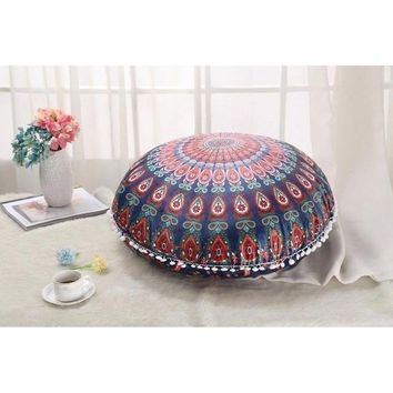 Colorful Mandala Floor Pillow Covers Ottoman Round