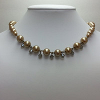 Golden Bronze Glass Pearl and Smoky Topaz Colored Faceted Bicone Crystal Bead Necklace