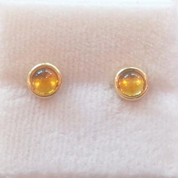 4mm Cabochon Stud Earrings With Citrine