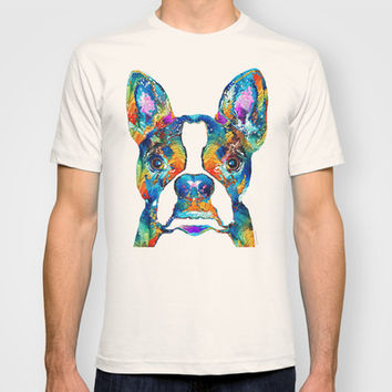 Colorful Boston Terrier Dog Pop Art - Sharon Cummings T-shirt by Sharon Cummings