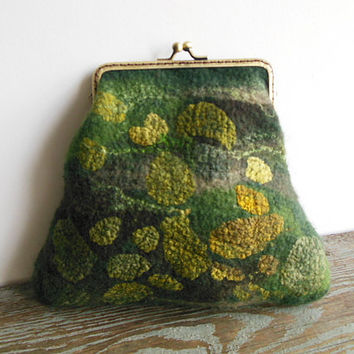 Hand felted purse bag pouch metal frame purse, wool felted, green, brown, OOAK bag, designer pouch, one of the kind pouch