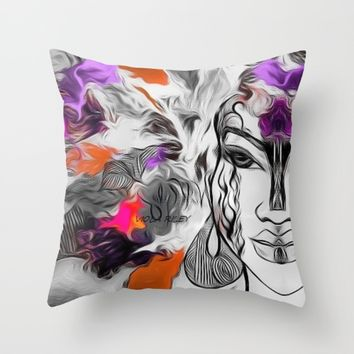 PurOrane Throw Pillow by violajohnsonriley
