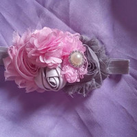 Fancy Gray and Pink HeadbandPink and
