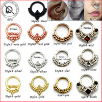 Small Size 1 Piece Real Septum Ring Pierced Piercing Septo Nose Ear Catilage Tragus Helix Piecing Clicker Ring 16g Body Jewelry