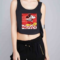 Vintage Dinsey Mickey Mouse Retro Disneyland for Crop Tank Girls S, M, L, XL, XXL *07*