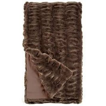 Taupe Mink Couture Faux Fur Throw Blanket by Fabulous Furs