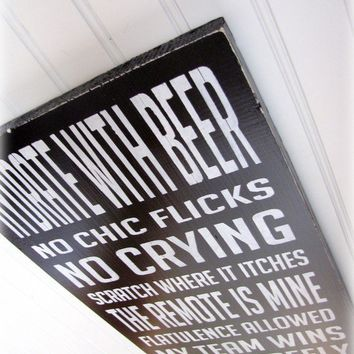 Man Cave Rules Typography Sign by cellardesigns on Etsy