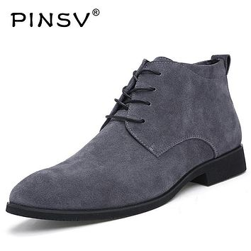 Winter Men Boots Cow Suede Leather Boots Men Winter Shoes Ankle Cowboy Boots For Men Shoes Botas Hombre Erkek Bot