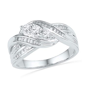 10kt White Gold Women's Round Baguette Diamond 3-Stone Crossover Band Ring 1/2 Cttw - FREE Shipping (US/CAN)