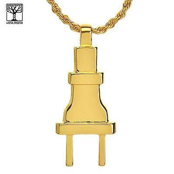 """Jewelry Kay style Men's Hip Hop Iced Out Bling Bling Plug Pendant 22"""" Rope Chain Set NA 0842 G"""