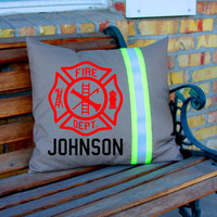 Tan MALTESE Cross and Name Pillow Firefighter Themed Decor Personalized