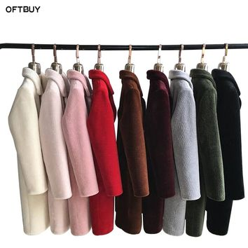 OFTBUY 2018 Shearling Coats Women Real Fur Jacket Winter Parka Long 100% Natural Wool Fur Outerwear Turn-down Collar thick warm