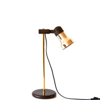 MIDCENTURY DESK LAMP, Adjustable, Industrial Decor, 'Neweba' Gold Brass, Vintage Swiss, Designer Table Light 1950s, Made in Switzerland