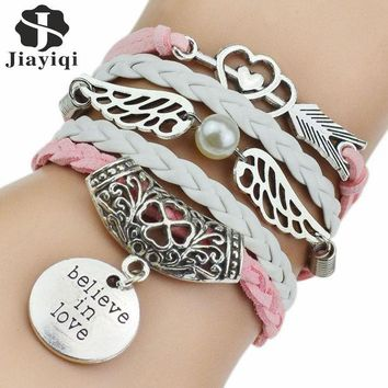 LMF9GW 7 Colors 2016 New Fashion Leather Bracelets & Bangles Silver Owl Tree Love Bracelets for Women Men Hot Sale Fashion Jewelry