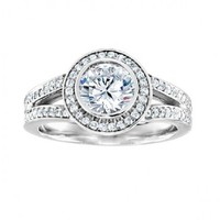 1 1/4ct tw Diamond Halo Engagement Ring in 14K White Gold - Designer Prototypes - Engagement Rings