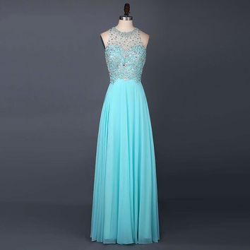 New Arrival Chiffon O Neck Beading Long Prom Dress A Line Off The Shoulder Floor Length Sleeveless Prom Dresses