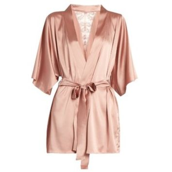 Fleur of England Sofia silk-blend and lace robe