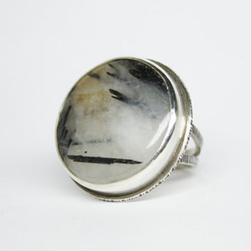 Sterling silver ring with black tourmaline in quartz - one of a kind