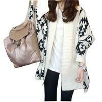 Women White Aztec Oversized Open Front Loose Sweater Cape Cardigan Coat Tops:Amazon:Clothing