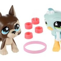 Littlest Pet Shop Assortment 'A' Series 2 Collectible Figure Great Dane and Ostrich with Leg Warmers