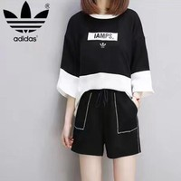 """""""Adidas"""" Women Sport Casual Multicolor Letter Print Middle Sleeve Shorts Set Two-Piece"""