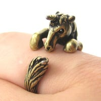 Unicorn Horse Detailed Animal Wrap Around Ring in Brass - Size 5 to 9