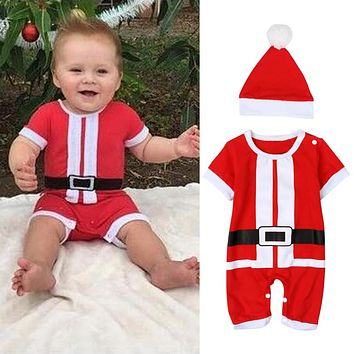 2016 New baby romper newborn boys girls Christmas Santa Claus bebe fleece lining romper + hat suit infant New Year clothes