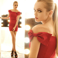 ELEGANT BOW MINI DRESS IN FIERCE RED
