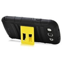 CrazyOnDigital TRAVELER Protective Case for Samsung Galaxy S III S 3 (AT&T, T-Mobile, Sprint, Verizon) (Black) [ Updated Design. Now come with kick-stand]