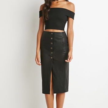 Buttoned Faux Leather Skirt