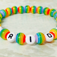 Gay Pride Bracelet,  Rainbow Pride beads, LGBT Awareness,