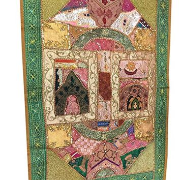 Vintage Embroidered Green Wall Hanging Patchwork Sari Tapestry(60x40inch)