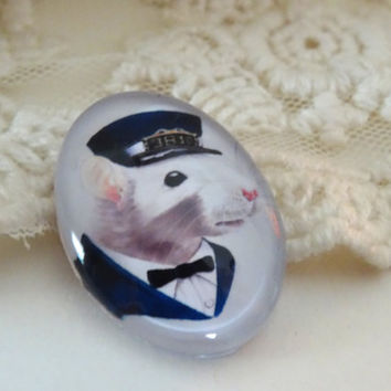 1- Clothed Mouse Cabochon Animal Cameo Cabochon 25 x 18mm Glass Animal in Clothes Cabochon Glass Dome Button Unisex Crafting Supplies