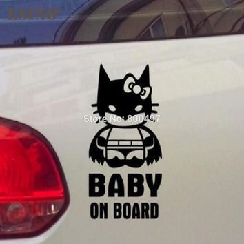 Car Styling New Funny Decorative Vinyl Hello Kitty Batman Baby on Board Creative Reflective Sticker Car Body Personalized Decal