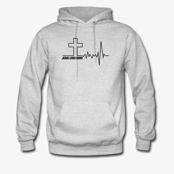 Jesus Live Here | Christian | Faith | Religious Hoodie | Christian Life Apparel