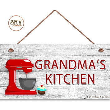 """Grandma's Kitchen Sign, Red Mixer and Cupcake Wall Art, Gift For Grandma, Weatherproof, 5"""" x 10"""" Sign, Made To Order"""